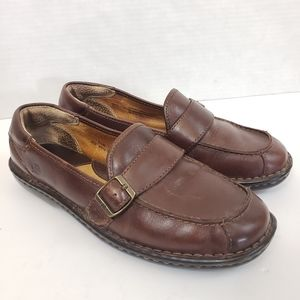 Born Slip On Loafers w/Buckle Brown Leather Sz 8.5
